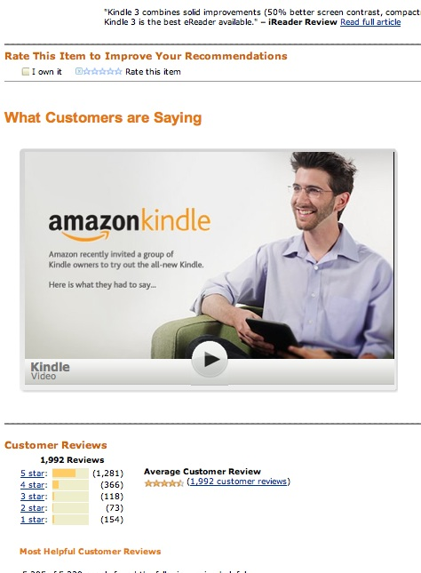 Kindle 3 Customer Testimonials Video on Amazon.com