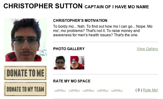My Movember profile